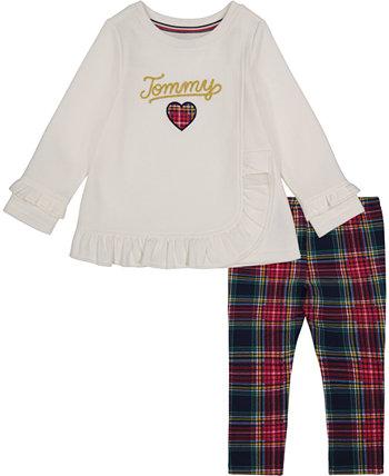 Туника из 2 предметов с оборками и логотипом для маленьких девочек, комплект леггинсов в клетку Tommy Hilfiger