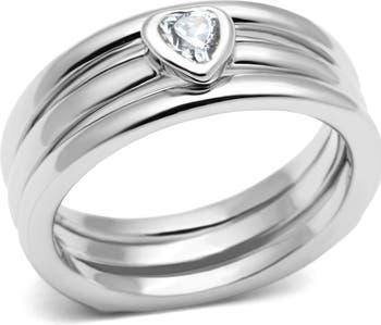 Наборное кольцо с родиевым покрытием Heart Cut CZ Covet