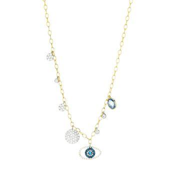 Желтое золото 585 пробы, бриллианты и бриллианты; Ожерелье с подвеской в виде глаза из нескольких камней Meira T