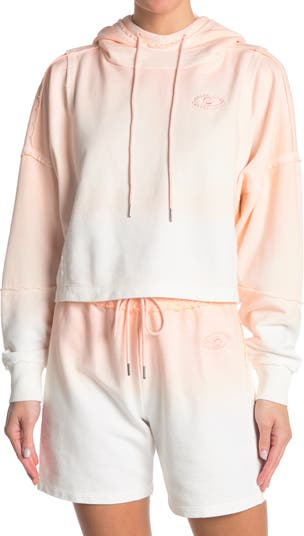 Ombre Printed Boxy Cropped Hoodie Nicole Miller