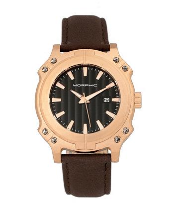 Серия M68, корпус из розового золота, часы с коричневым кожаным ремешком и датой, 44 мм Morphic