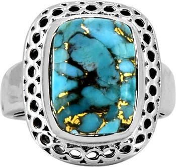 Кольцо из стерлингового серебра с синей медной бирюзой Nitya