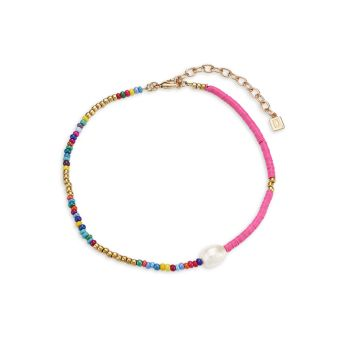 Emma 10K Goldplated 8x4MM Pearl & Multicolor Beaded Choker Necklace DANNIJO