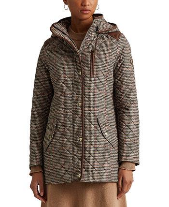 Стеганое пальто с капюшоном в гусиные лапки, созданное для Macy's Ralph Lauren