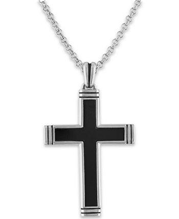 Мужское ожерелье с кулоном 22 дюймов с содалитовым крестом из стерлингового серебра (также из оникса) Macy's