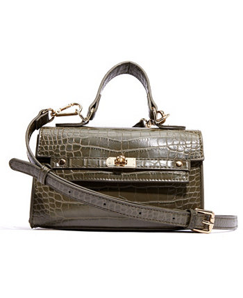 Миниатюрная сумка-портфель из веганской кожи с ручкой сверху и ручкой из крокодиловой кожи LIKE DREAMS