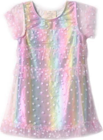 Радужное платье с накладным элементом в сетку с металлизированной сеткой Hannah Banana