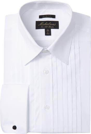 Однотонная приталенная классическая рубашка под смокинг со складками Michelsons