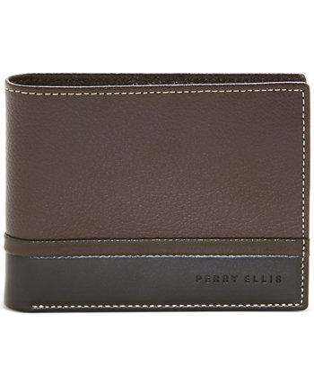 Мужской кошелек двойного сложения Pebble Smooth Contrast Perry Ellis Portfolio