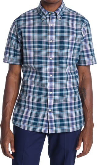 Рубашка спортивного кроя в клетку с короткими рукавами Brooks Brothers