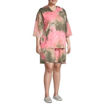 Plus 2-Piece Tie-Dye Hoodie & Shorts Set Tiana B