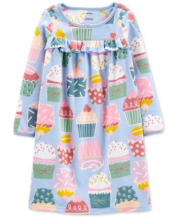 Флисовая ночная рубашка с принтом кексов для маленьких и больших девочек Carter's