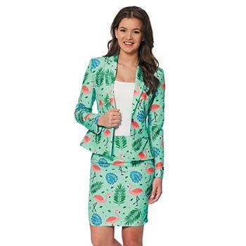 Женский костюм Suitmeister с тропическим фламинго, куртка и юбка, костюм Suitmeister