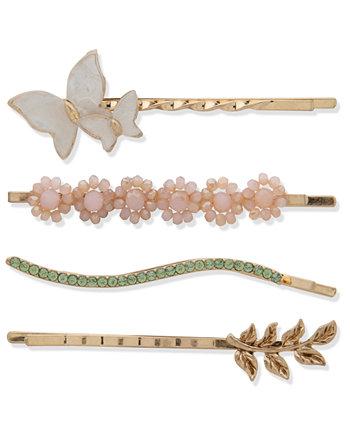 4-шт. Набор заколок в виде бабочки с золотыми кристаллами и камнями Lonna & lilly