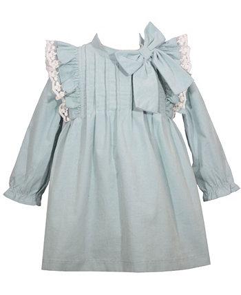 Вельветовое платье для маленьких девочек с кружевной отделкой сарафан, оборками, бантом и подходящими трусиками, комплект из 3 предметов Bonnie Baby