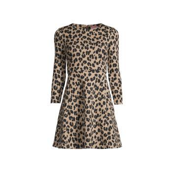 Расклешенное платье с леопардовым принтом Forest Feline Kate Spade New York