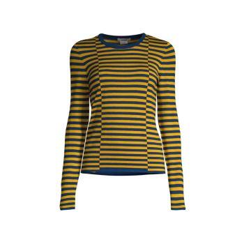 Полосатый свитер с круглым вырезом и длинными рукавами Jason Wu