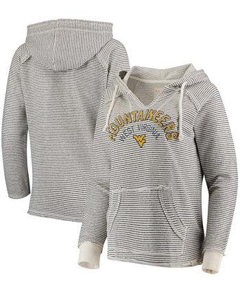Женский кремовый пуловер с V-образным вырезом в полоску West Virginia Mountaineers, толстовка с капюшоном из французского терри Blue 84