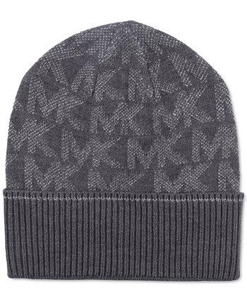 Вязаная шапка с металлическим логотипом Michael Kors