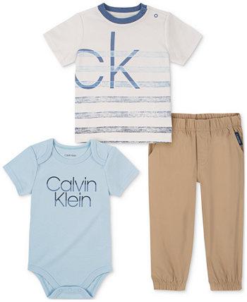 Baby Boys 3 шт. Комплект футболки, боди и брюк Calvin Klein