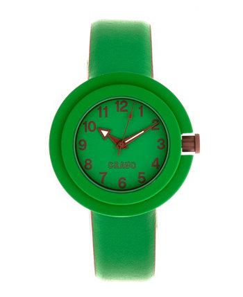 Унисекс Equinox Зеленый, Коричневый ремешок из искусственной кожи 40мм Crayo