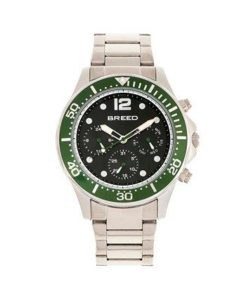 Кварц Pegasus Green Face Многофункциональные часы из серебряного сплава 46мм Breed