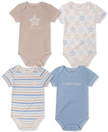 Комплект из 4 боди с принтом для новорожденных мальчиков Calvin Klein