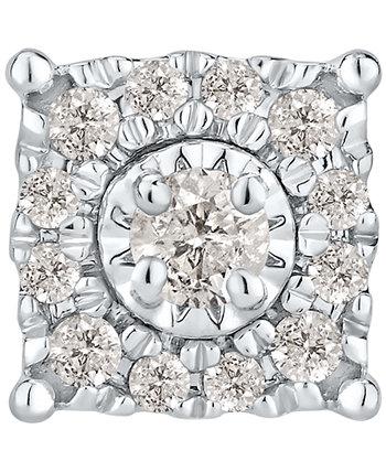 Мужские одиночные серьги-гвоздики с бриллиантами в виде кластера (1/4 карата) из белого золота 10 карат Macy's