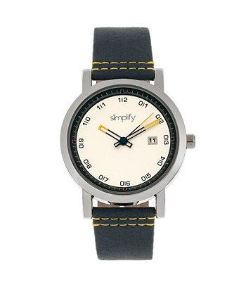 Кварц 5300 белый циферблат, часы из натуральной синей кожи 40 мм Simplify