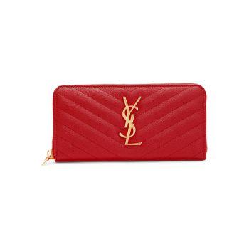 Кожаный кошелек на молнии с монограммой Matelassé Saint Laurent