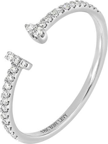 Кольцо-манжета Petite с двойной перемычкой из белого золота 18 карат с паве и бриллиантами - 0,13 карата Bony Levy
