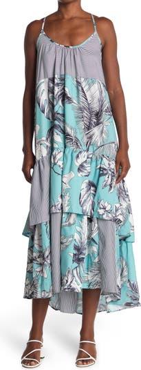 Платье с оборками и блокировками с узором TOV