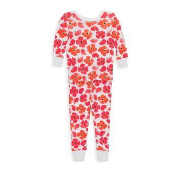 Детские & amp; Пижамный комплект из двух предметов для маленьких девочек с маками Aden + anais