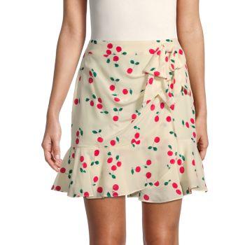 Шелковая мини-юбка с вишневым принтом The Kooples