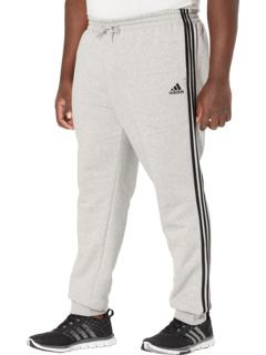 Зауженные флисовые брюки с 3 полосками и манжетами Big & Tall Essentials Adidas