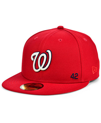 Бейсболка Washington Nationals Jackie Robinson 50th Patch 59FIFTY-FITTED New Era