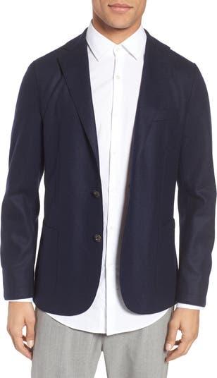 Wool Blend Trim Fit Sport Coat Eleventy