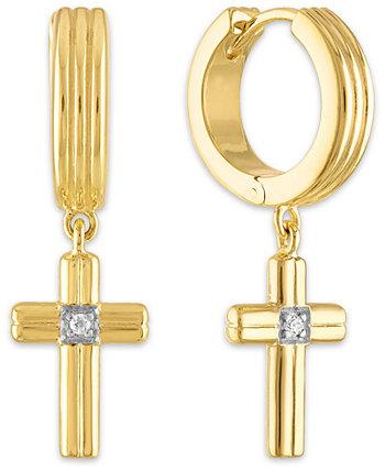 Серьги-кольца с бриллиантами и крестиком из стерлингового серебра с покрытием из 14-каратного золота, стерлингового серебра или черного рутения поверх серебра, создано для Macy's Esquire Men's Jewelry