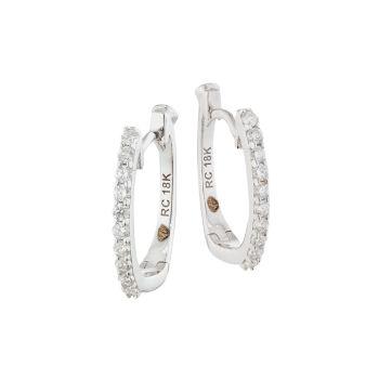 Белое золото 18 карат & amp; Серьги-кольца Diamond Pavé Huggie Roberto Coin