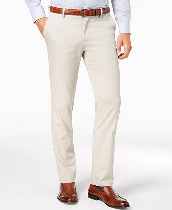 Мужские приталенные брюки цвета хаки из эластичного хлопка Signature Lux из хлопка Dockers