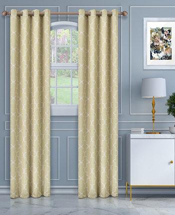 """Мягкое качественное тканое полотно, пара панелей для штор с тепловыми втулками Imperial Trellis Blackout, набор из 2 шт., 52 """"x 108"""" Superior"""