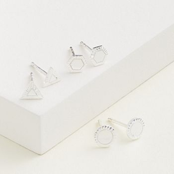 Elizabeth and James Sterling Silver Circle, Triangle & Hexagon Stud Earring Set Elizabeth and James
