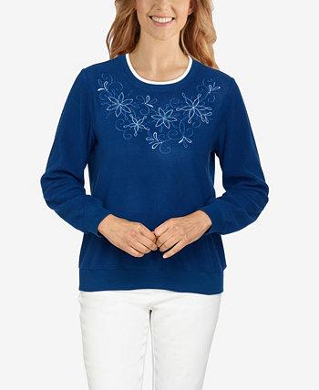 Пуловер с цветочной вышивкой и классической кокеткой больших размеров Alfred Dunner