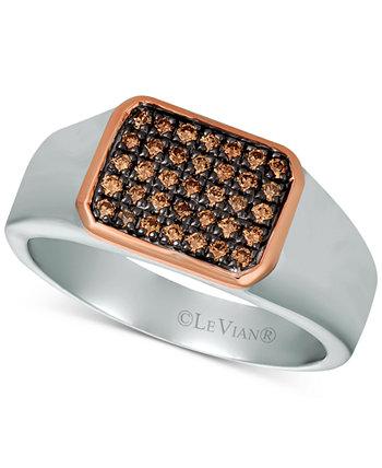 Мужское кольцо с бриллиантом (1/3 карата) из стерлингового серебра и розового золота 14 карат Le Vian