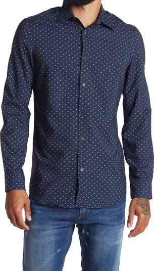 Приталенная рубашка с длинным рукавом с микропринтом Perry Ellis