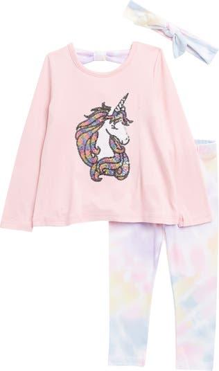 Топ с пайетками Unicorn, леггинсы с принтом тай-дай и повязка на голову Btween