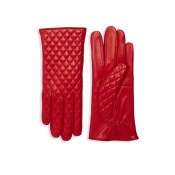 Стеганые кожаные перчатки Portolano