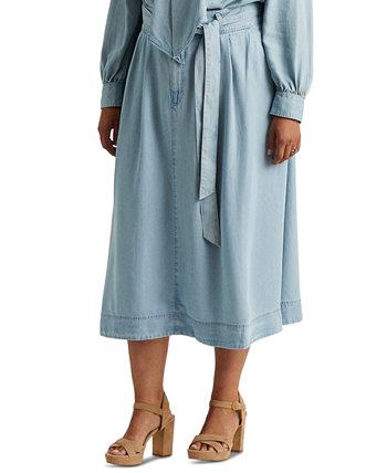 Plus-Size Belted A-Line Midi Skirt Ralph Lauren