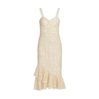 Embroidered Mesh Fit-&-Flare Midi Dress ML Monique Lhuillier