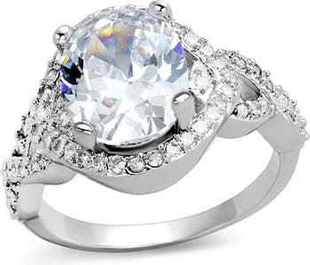 Заявительное обручальное кольцо из латуни с родиевым покрытием CZ Covet